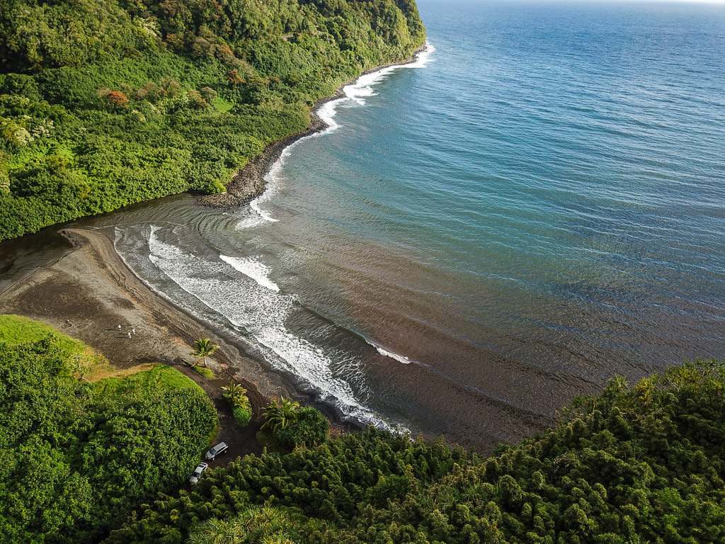 Drone shot of a very secluded beach off the Road to Hana