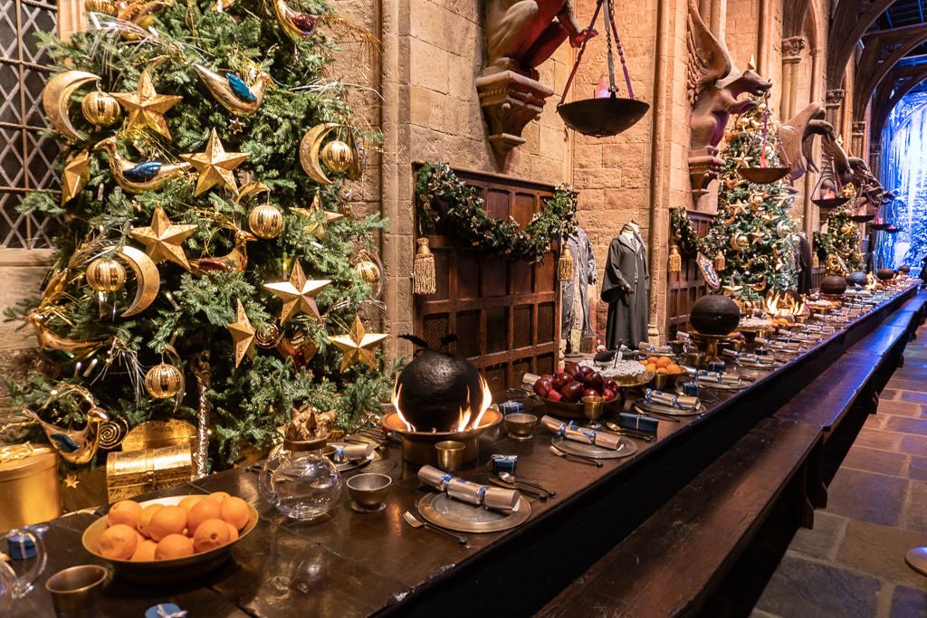The great feast at Hogwarts in the snow at the harry potter tour